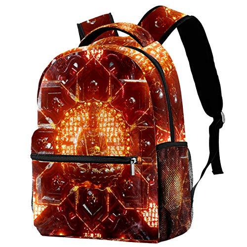 12' Bookbag Casual Hiking Daypack Travel Laptop Backpack Anti-Theft Bag Backpacks for Women Men College School Student ,Death Skull Gold Red