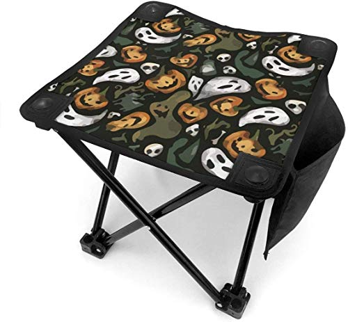 ghkjhk8790 Camping Stool Folding Halloween Party Ghost Pumpkin Portable Chair Camping Hunting Fishing Travel with Carry Bag