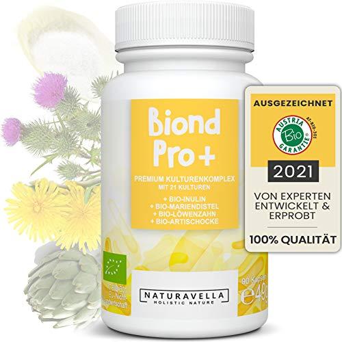 BiondPro+® Premium Kulturen Komplex vom Experten mit 21 Bakterienstämmen, Bio-Inulin und Bio-Kräutern | Darmflora | Darmbakterien hochdosiert, vegan & laborgeprüft, 90 Kapseln
