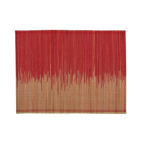 Madura Set de Table, Coton Bio, Rouge Vif/Naturel, 48 x 35 cm