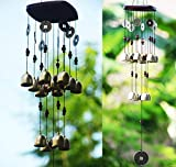 CALDIPREE 13 Bells Copper Wood Wind Chimes Hanging for Home Window Decoration
