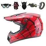Casco de Motocross/Casco Completo de Telaraña - Rojo mate, (Con guantes, Máscara, Gafas de Seguridad, Silbato de Supervivencia Con brújula), Adulto, Niño, UnisexCasco con,Certificación ECE