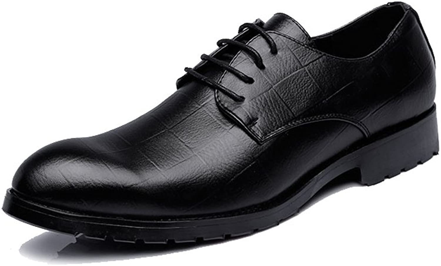 ZLQ Men's Business PU Leather shoes Classic Lace Up Loafers Square Texture Low Top Oxfords Breathable shoes