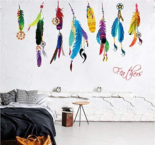 hfwh Muurtattoo - Klassieke creatieve dromenvanger veren kunst sticker wandschilderij geluk slaapkamer achtergrond foto's Home Decoratie geschenken 50x70cm