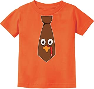 Funny Thanksgiving Turkey Face Tie Cute Toddler Kids T-Shirt