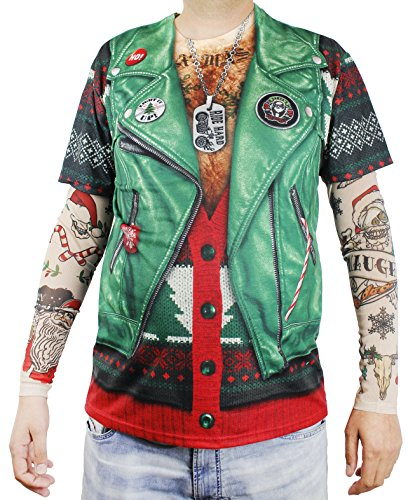 Faux Real Xmas Biker with Tattoo Sleeve Printed T-Shirt, Adult Size X-Large Green