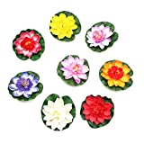 JETEHO Set of 8 Artificial Floating Lotus Flower Water Lily for Home Garden Pond Aquarium Wedding Decor