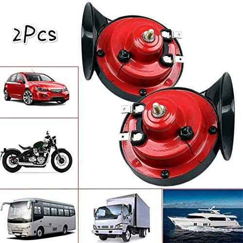 High Tone//Low Tone Twin Horn Kit Red Qiilu Electric Car Horn Kit 12V Vehicle Horn