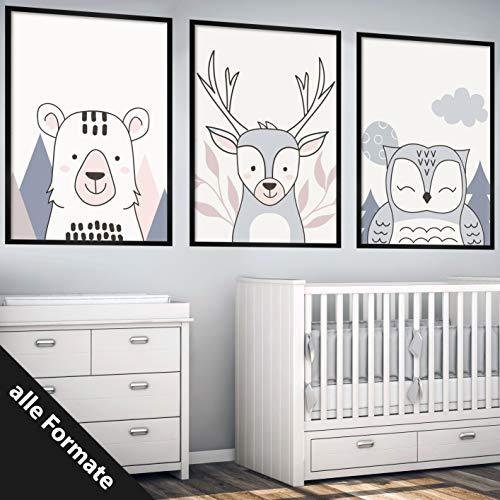 Papierschmiede Kinderposter 3er-Set Bilder Kinderzimmer Deko | Junge Mädchen | 3X DIN A4 Poster | fürs Babyzimmer ohne Bilderrahmen Kunstdruck | Motiv: Waldtiere