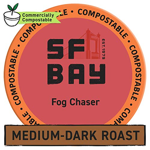 SF Bay Coffee Fog Chaser 80 Ct Medium Dark Roast Compostable Coffee Pods, K Cup Compatible including Keurig 2.0 (Packaging May Vary)