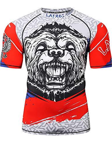 LAFROI Camisa de compresión de manga corta UPF 50+ Baselayer Performance para hombre CLY08, Hombre, GB-LA_CLY08_Bt-D-Honor Strike-MD, Huelga de Honor, M