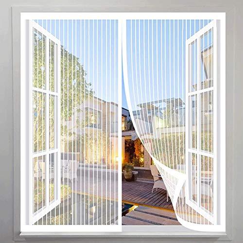 KANGLIPU Mosquitera Magnética Ventana 105x130cm Adsorción magnética Cortina de Puerta Automática Ventilación De Verano para Ventanas de Puertas de Cortina, Blanco
