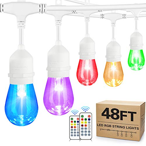 48FT Color Changing Outdoor String Lights, Dimmable RGB Cafe LED String Light with 15+3 S14 Shatterproof Edison Bulbs, Waterproof Commercial Patio Backyard Garden Lights, 2 Remote Controls, White Wire