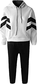 KAIXLIONLY Women's Sweatsuits,Stripe Jogging Tracksuits Hoodie and Sweatpants Color Block Sports Jumpsuit