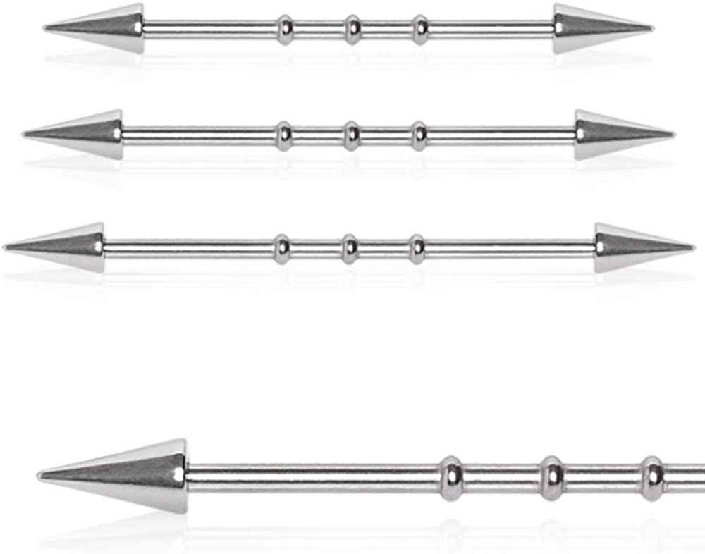 Covet Jewelry 316L Surgical Steel Industrial Bamboo Barbell with Spikes