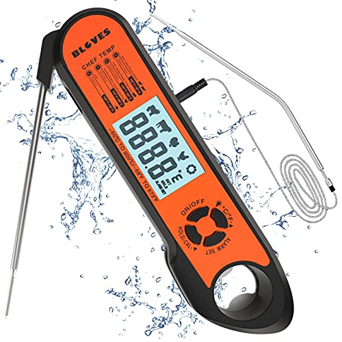 Digital Meat Thermometer, Wireless Instant Read Food Thermometer with Temp Alarm/Bottle Opener for Outdoor Grilling Smoking BBQ Kitchen Cooking Baking Candy Making Deep Fry Oil, Dual Probes, Oven Safe
