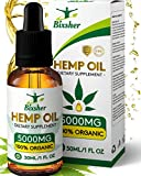 BIXSHER High-Strength-Hemp-Oil-5000MG, 100% Pure-Natural, Pain-Stress-Anxiety-Relief, Vegan Source-Omega-3-6-9, Helps-Sleep-Skin-Hair, Multi-Vitamin, Rich-Fatty-Acids
