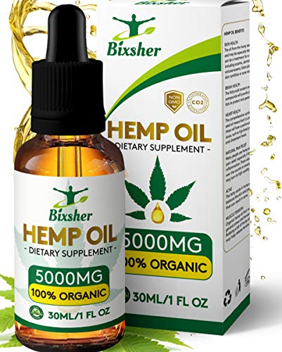 BIXSHER High-Strength-Hemp-Oil-5000MG, 100% Pure-Natural, Pain-Stress-Anxiety-Relief, Vegan Source-Omega-3-6-9, Helps-Sleep-Skin-Hair, Multi-Vitamin, Rich-Fatty-Acids