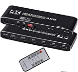 HDMI Matrix 4x2 4K@30Hz HDMI Audio Extractor hdmi Splitter with SPDIF and L/R 3.5mm HDMI 1.4b Switch for HDCP 2.2 3D 1080P LPCM/Dolby/DTS 5.1 Channel EDID