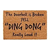 CKB LTD® DOOR BELL BROKEN - YELL Novelty DOORMAT Unique Doormats Front/Back Door Mats Made with a non-slip PVC backing - Natural coir - Indoor & Outdoor
