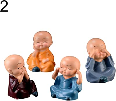 Farship Lifestyle The 3 Yellow Monks Figurines Ornaments Set of 3 Cute Asian Buddha Yellow Figures Desk Decoration Lucky Gift
