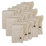Yesland Juego de 15 bolsas de jabón con cordón de sisal orgánico, para hacer espuma, restos de jabón sostenibles sin plástico, secado de jabón, exfoliante y masaje.
