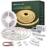 Led Strip Lights 50.5 Feet Warm White Dimmable Led Light Strip Flexible Rope Lights Kits with 24v Etl Power Supply, Adhesive Clips, Dimmer Switch and Connectors for Indoor Decor