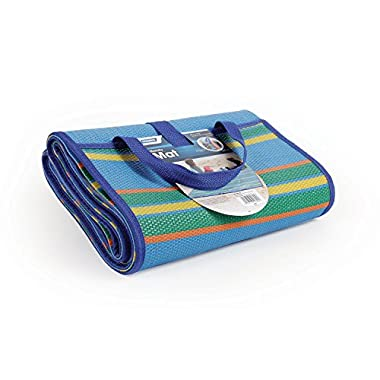 Camco Handy Mat with Strap, Perfect for Picnics, Beaches, RV and Outings, Weather-Proof and Mold/Mildew Resistant (Blue/Green - 72  x 108 ) (42814)