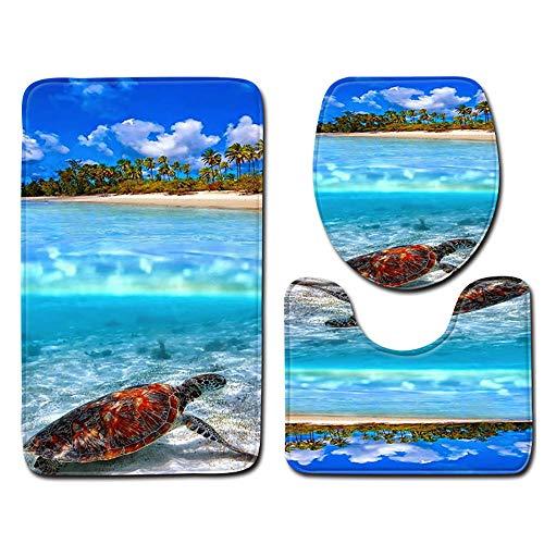 Wociaosmd Under The Ocean Non-Slip Bath Mat Bathroom Kitchen Carpet Doormats Decor 3pcs (I)