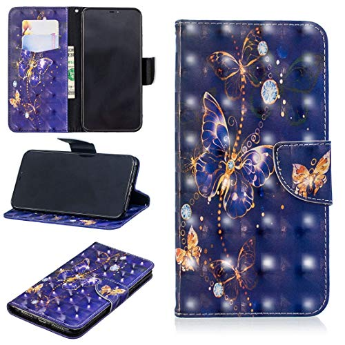 LISUHONG BXYD AYSMG 3D Colored Drawing Pattern Horizontal Flip Leather Case for Galaxy A6 Plus, with Holder & Card Slots & Wallet(Green Butterfly) (Color : Purple Butterfly)