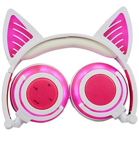 Limson BTR107 - Auriculares inalámbricos Bluetooth con micrófono y luz LED para niños, compatibles con teléfonos móviles, iPad, iPhone, ordenador portátil, ordenador portátil (3,5 mm), color rosa