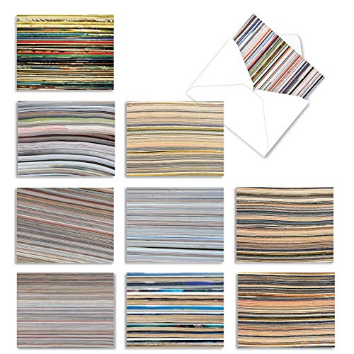 Assortment of 10 Blank Greeting Cards 4 x 5.12 inch with White Envelopes - All-Occasion 'Paper Cuts' Note Cards Featuring Multicolored Magazine Stacks M2030