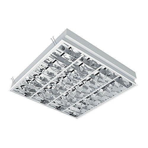 Rasterleuchte für 4x LED-Röhren 620 x 620 mm Einlegeleuchte Deckenleuchte mit Doppelparabolraster (BAP) (60cm, G13, nicht im Preis enthalten) Büroleuchte Deckenlampe Rasterlampe