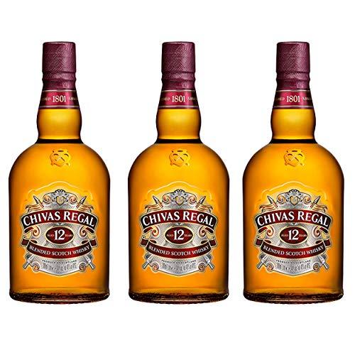 Chivas Regal 12 Jahre Blended Scotch Whisky 3er Set, Whiskey, Schnaps, Spirituose, Alkohol, Flasche, 40 %, 3 x 1 L