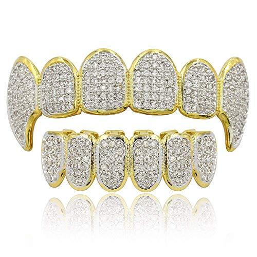 Moca Schmuck Hip Hop Unisex 18 Karat Vergoldet Iced Out CZ Simulierte Diamant Top Bottom Teeth Grill Set für Männer Frauen (gold)