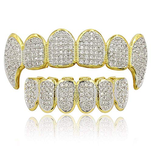 Moca Schmuck Hip Hop Unisex 18 Karat Vergoldet Iced Out CZ Simulierte Diamant Top Bottom Teeth Grill Set für Männer Frauen (Gold)