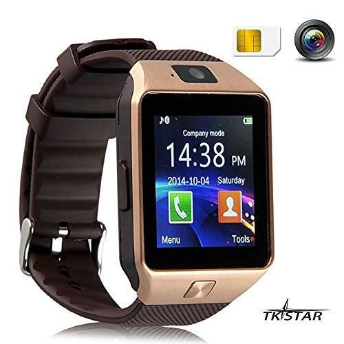 TKSTAR Sport Smartwatch Bluetooth Smart Uhr Watch Fitnessarmband mit 1.54 Zoll Display/SIM Kartenslot/Schrittzähler/Schlafanalyse/SMS Facebook Vibration für Android Smartphone DZ09 Gold