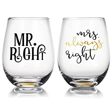 Mr Right & Mrs Always Right  - 22oz Stemless Wine Glasses Set of 2, Gift for Wedding Married Couple, for Engagement Gifts