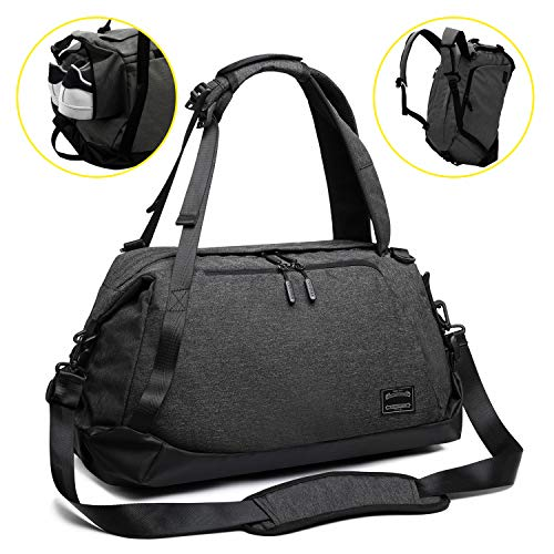 ITSHINY Gym bag, Sports Bag, Sport Duffel bag, 50L Travel Duffel Bag, Gym shoulder bag, Travel backpack Unisex - 3 in 1 Design with Shoes Compartment Water Resistant and Lightweight - Black