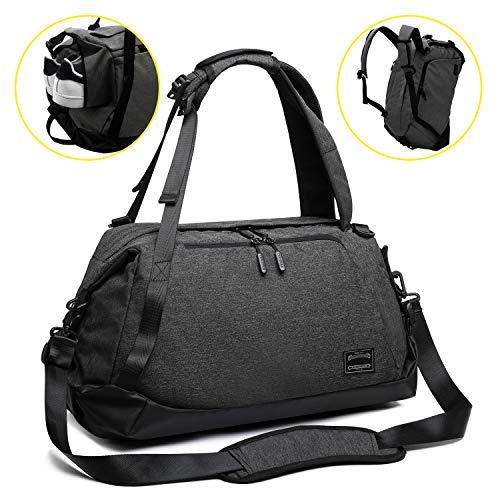 Sporttasche für männer Frauen, Umhängetasche für das Fitnessstudio, Reiserucksack,Gym Bag 3 in 1 Design mit Schuhfach, Gym Tasche wasserdicht und leicht (Black-Schultertasche)