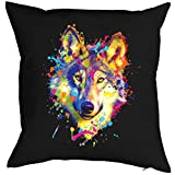 Geile-Fun-T-Shirts Color Zierkissen Neon Wolf Sofakissen Geschenk Kissen 40 x 40 cm geil Bedruckt