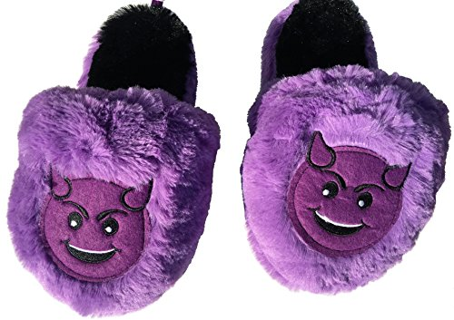 Emoji Purple Smiling Devil Slippers Girls Large 2-3