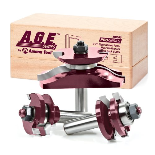 A.G.E. Series by Amana Tool MD502 Raised Panel Door Making Carbide Tipped Router Bit Set with Back Cutter with 1/2-Inch Shank, 3-Piece