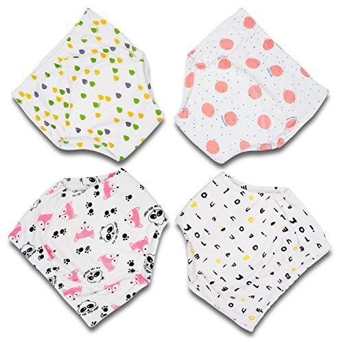 Flyish Baby Trainingshose Kinder Windelhose Kleinkind Training Unterwäsche Baumwolle wiederverwendbar und waschbar bequem 4er Pack, Girl, 100