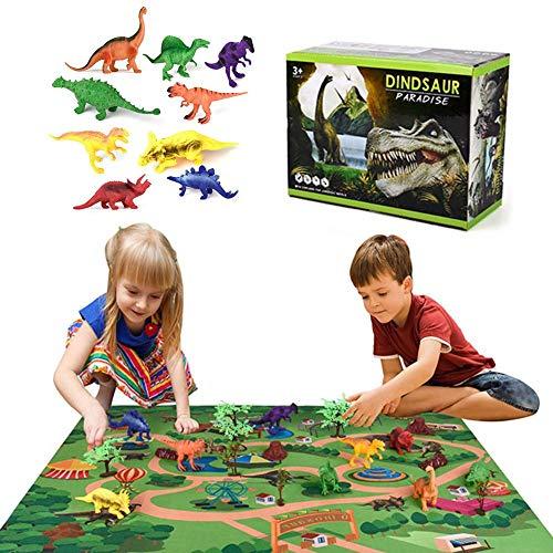 lingzhuo-shop Dinosaurier Spielzeug Set Spielset Figur Dinosaurier Pflanzen Dinosaurier Kunststoff Mit Spielmatte Kinder Kinder Spielen Kit Pädagogisches Geschenk Spielzeug Für Jungen Mädchen