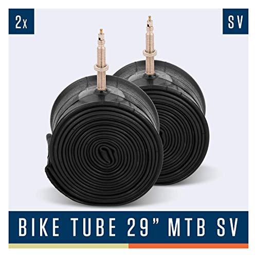 Alphatrail MTB Fahrradschlauch Rick 29 Zoll SV Französisches Ventil I 2X Set mit Mobilitätsgarantie I Kompatible Fahrradreifen Schwalbe, Continental, Conti, Maxxis, Onza & Michelin Fahrrad Schlauch