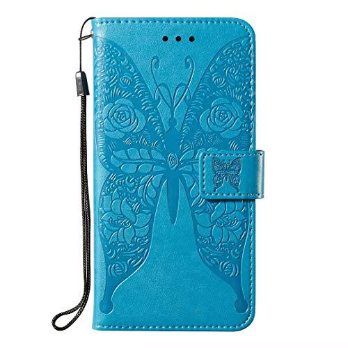 Ledertasche Kompatible für Nokia 3.2 Handyhülle für Nokia 3.2 Hülle Case PU Leder Tasche Schmetterling Flipcase Cover Schutzhülle Handytasche Ständer Klapphülle Schale Bumper Magnet Mädchen Blau