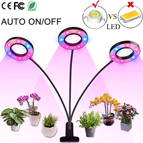 Professional Grow Light, Full Spectrum LED Plant Light for Indoor Plants, 4/8/12H Auto ON/Off Timer, 8 Dimmable 36W Triple Heads Growing Lamp for Garden Seeds Herb Hydroponic Succulent Orchid Bonsai