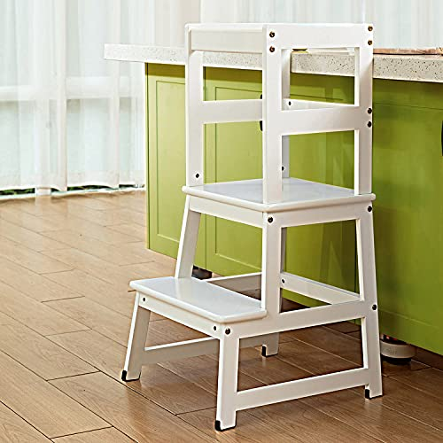 Wiifo Kids Kitchen Step Stool with Safety Rail,Wooden Toddler Standing Tower for Kitchen Counter, Kids Montessori Stool, White Solid Wood Construction