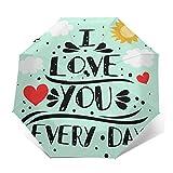 Ombrello Portatile Automatico Antivento, Ombrello Pieghevole Compatto, Folding Umbrella, Baldacchino Rinforzato, Impugnatura Ergonomica, Iscriviti citazione romantica che amo